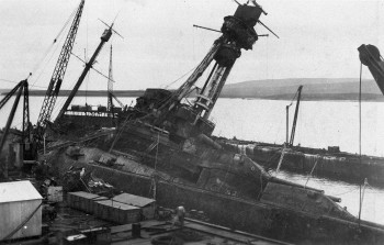 SMS Hindenbugh after being towed to shore. Reproduced with kind permission Orkney Library and Archive.