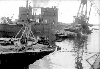 SMS Hindenberg between the floating docks © Orkney Library and Archive