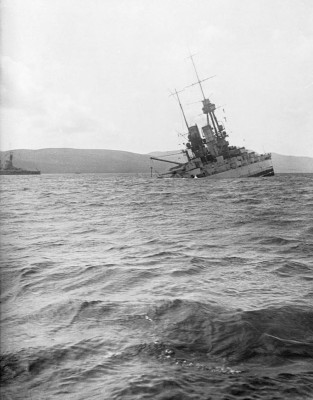 SMS Bayern sinking by the stern © Orkney Library and Archive