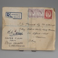 Envelope which contained four copper turners from the reign of Charles I